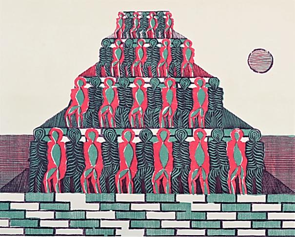 Rapporto uomo-ambiente n.5, 1977, xilografia a colori, 400x500 mm
